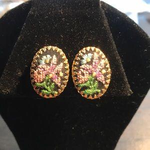 Vintage needlepoint clip on earrings